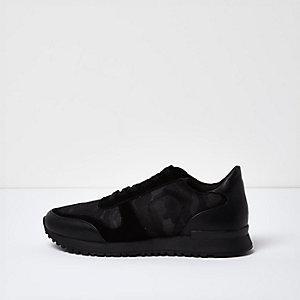 Black camo panel sneakers