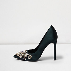 Dark green satin embellished pumps