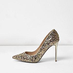 Gold glitter wide fit pumps