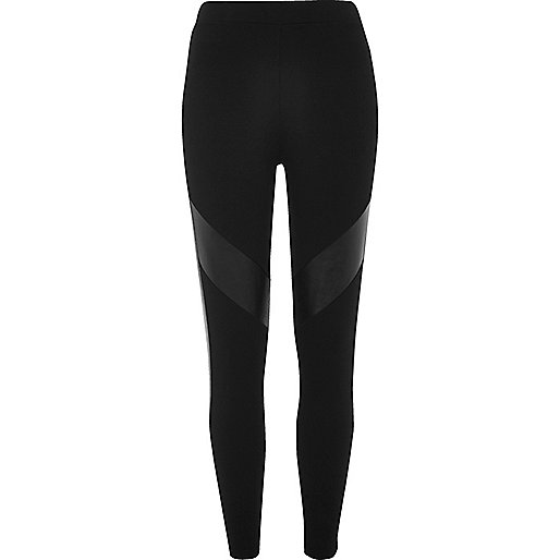 Black leather look panel leggings