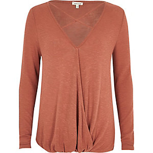Rust strappy wrap front top