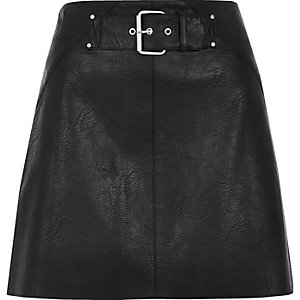 Black side stripe buckle mini skirt