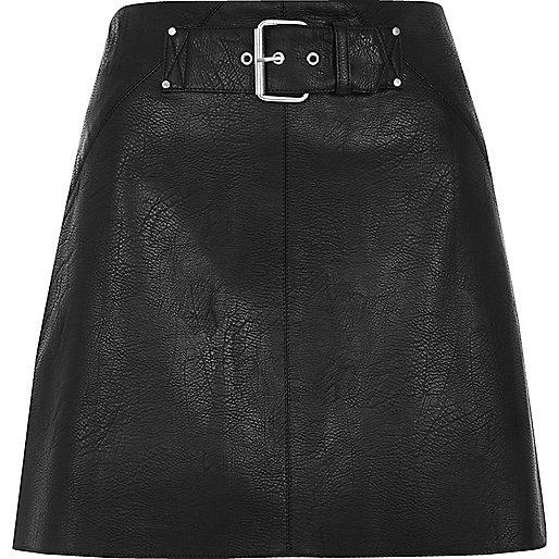 Black side stripe buckle mini skirt