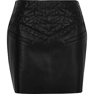 Black textured western mini skirt