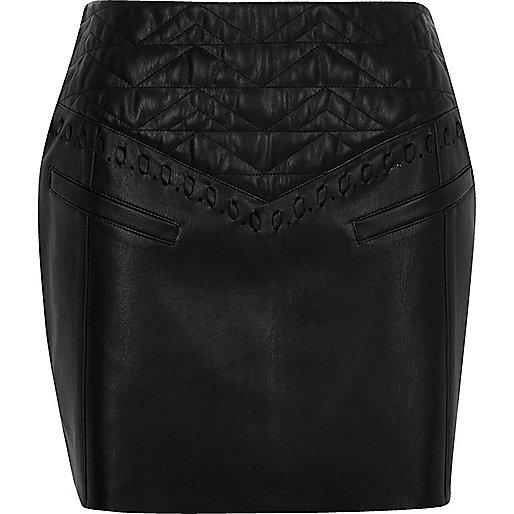 Black textured western mini skirt