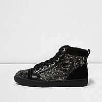 Black diamanté panel hi tops