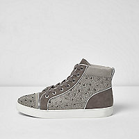 Grey diamanté panel hi tops