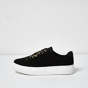 Black camo lace-up platform trainers