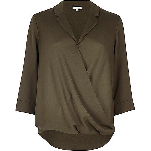Khaki wrap blouse