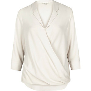 Cream wrap blouse