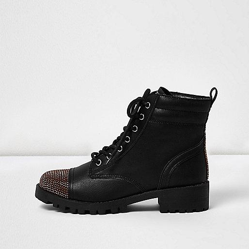 Black stud toe boots