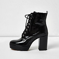 Black patent leather platform heel boots