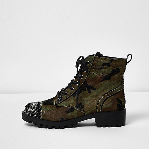 Khaki camo pony leather stud toe boots