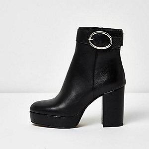 Black leather buckle platform heel boots