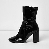 Black patent wide fit block heel boots