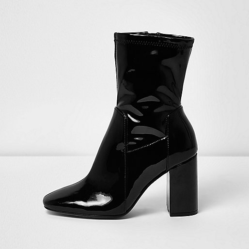 Black patent wide fit block heel boots