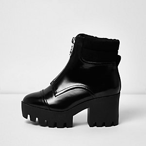 Black patent wide fit chunky platform boots