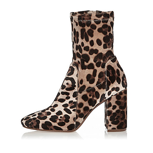 Brown leopard print wide fit block heel boots