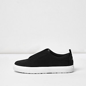 Black slogan heel print plimsolls