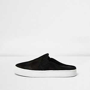 Black camo mesh backless plimsolls