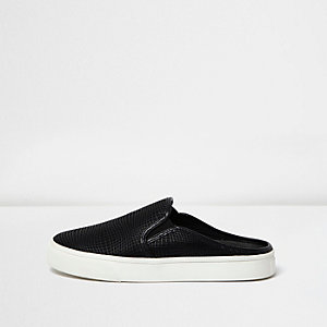 Black textured backless plimsolls