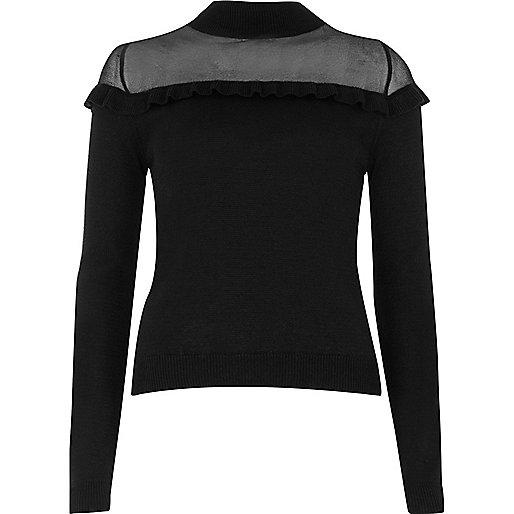 Gerüschter Pullover mit transparenter Bahn