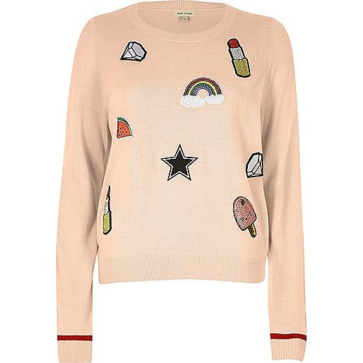 Pink sequin badge sweater