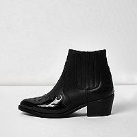 Bottes en cuir noir à empiècements vernis style western