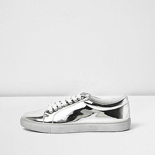 Silver metallic trainers