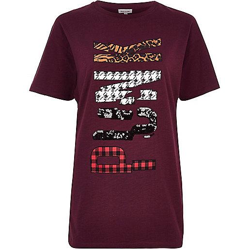 Red 'Punk' sequin print boyfriend T-shirt