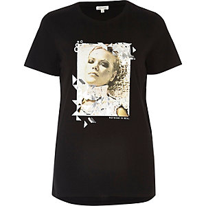 Black sequin print T-shirt