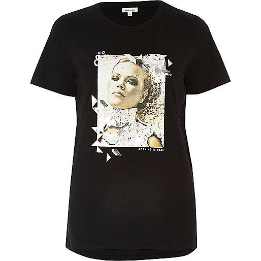 Schwarzes bedrucktes T-Shirt mit Pailletten