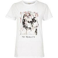 White sequin detailed T-shirt