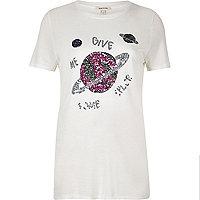 T-shirt imprimé galaxie blanc à sequins