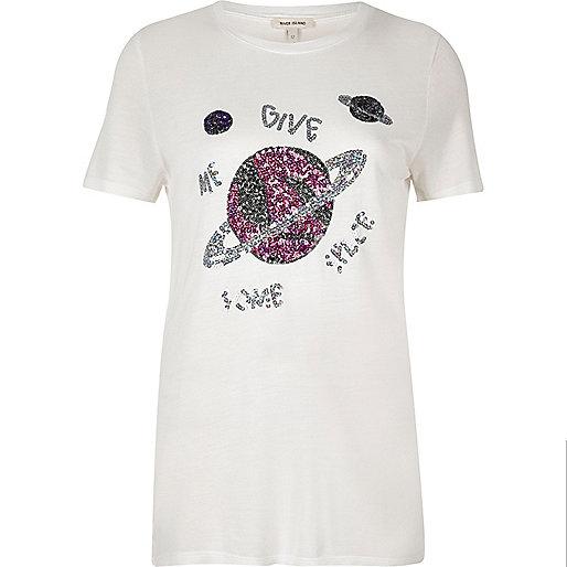 Weißes T-Shirt mit paillettenbesetzten Weltall-Motiven
