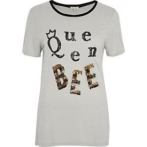 Grey sequin 'Queen Bee' T-shirt