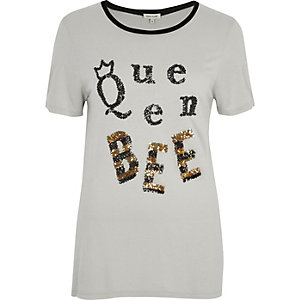 T-shirt Queen Bee gris à sequins
