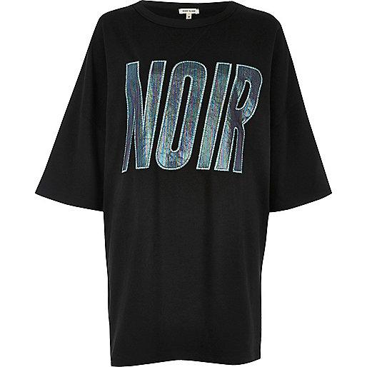 T-shirt noir imprimé Noir oversize