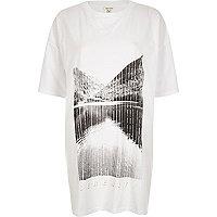 White 'Serenity' print longline T-shirt