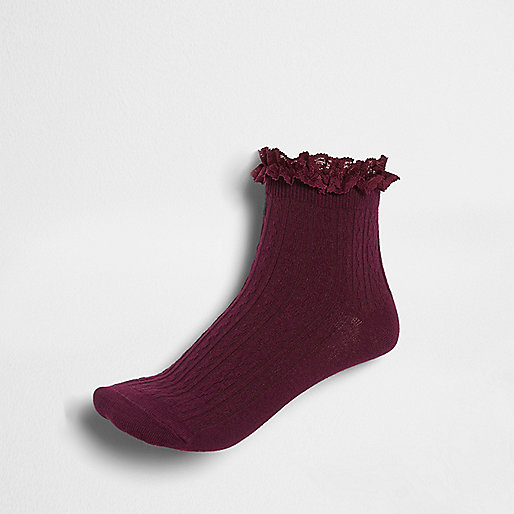 Burgundy frill cable knit socks
