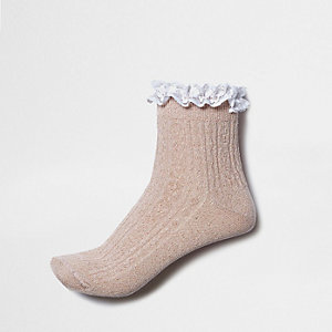 Nude sparkly frill cable knit socks
