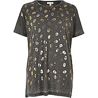 Grey skull metallic print boyfriend T-shirt