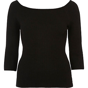Black ribbed square neck top