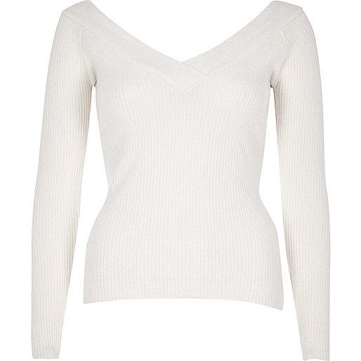 Cream ribbed knit V-neck top