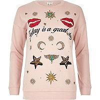 Verziertes Sweatshirt mit Abzeichen in Rosa