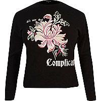 Black contrast floral sweatshirt