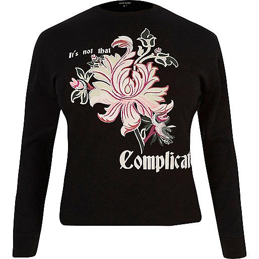 Schwarzes Sweatshirt mit Blumenprint