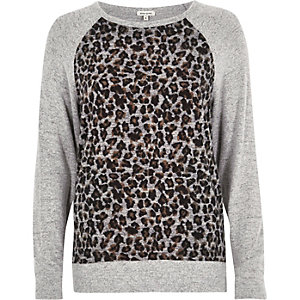 Grey leopard print panel sweatshirt