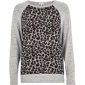 Sweat à imprimé léopard gris avec empiècement