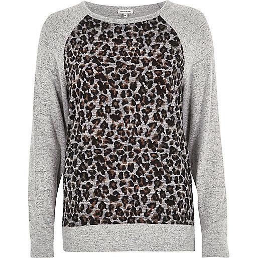 Grey leopard print panel sweatshirt
